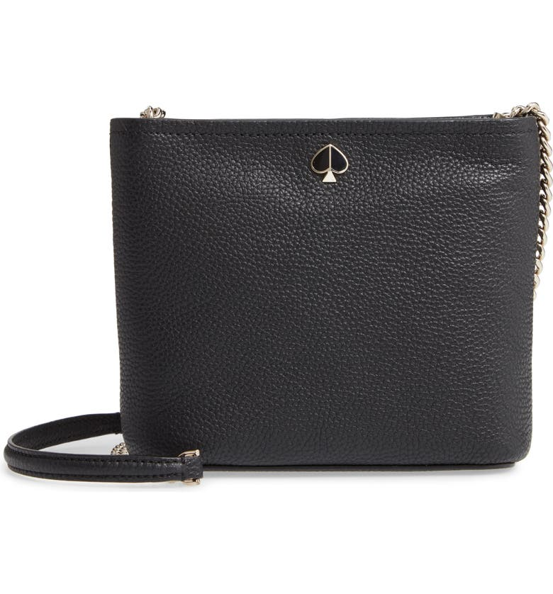 KATE SPADE NEW YORK small polly leather crossbody bag, Main, color, 001