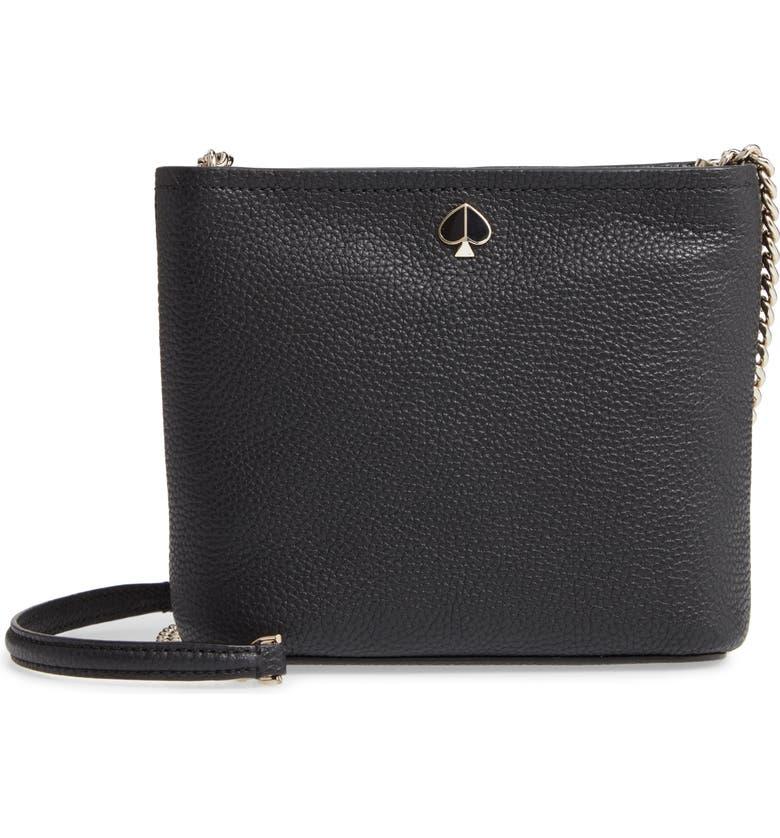 KATE SPADE NEW YORK small polly leather crossbody bag, Main, color, BLACK