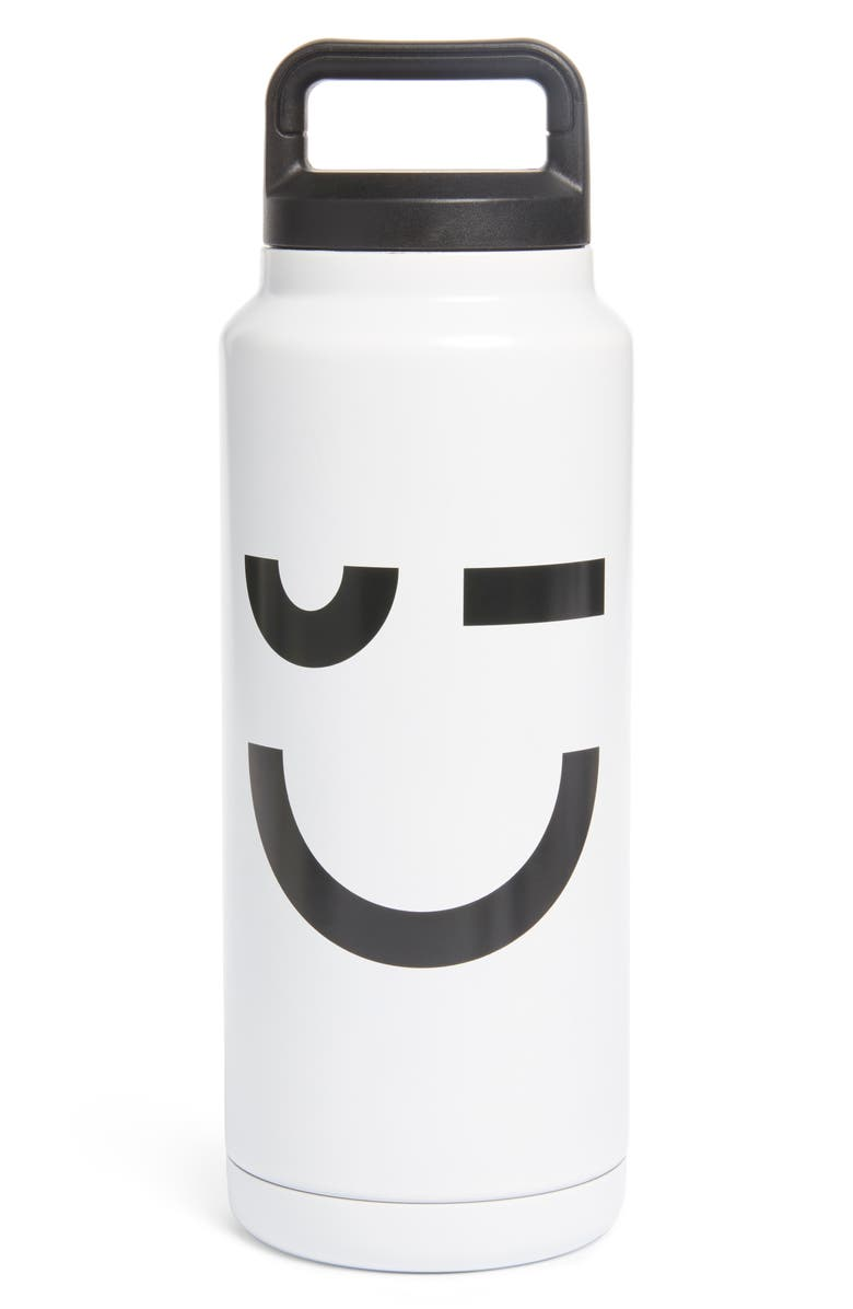 NORDSTROM Reusable Water Bottle, Main, color, WHITE PLACED SMILE