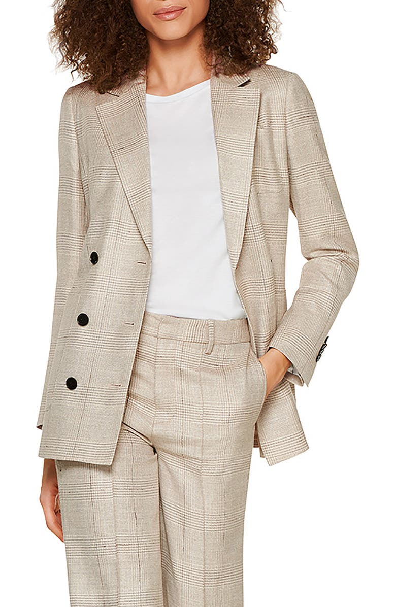 SUISTUDIO Joss Double Breasted Plaid Wool Blend Suit Jacket, Main, color, LIGHT BROWN CHECK