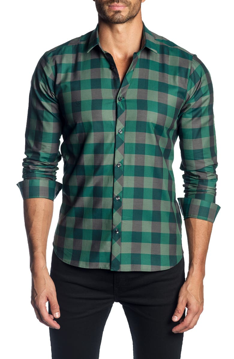 JARED LANG Trim Fit Buffalo Check Shirt, Main, color, GREEN CHECK
