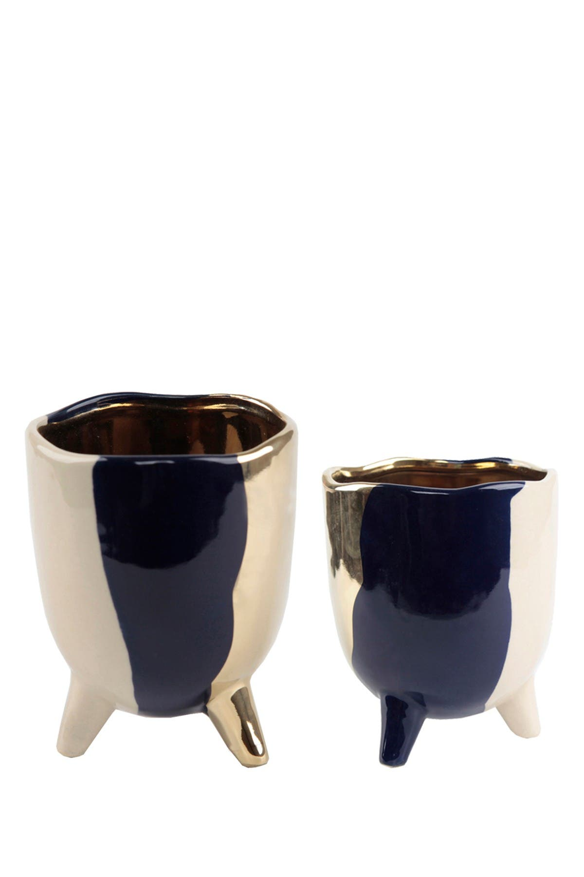 Image of FLORA BUNDA Navy Footed Ceramic Planter - Set of 2