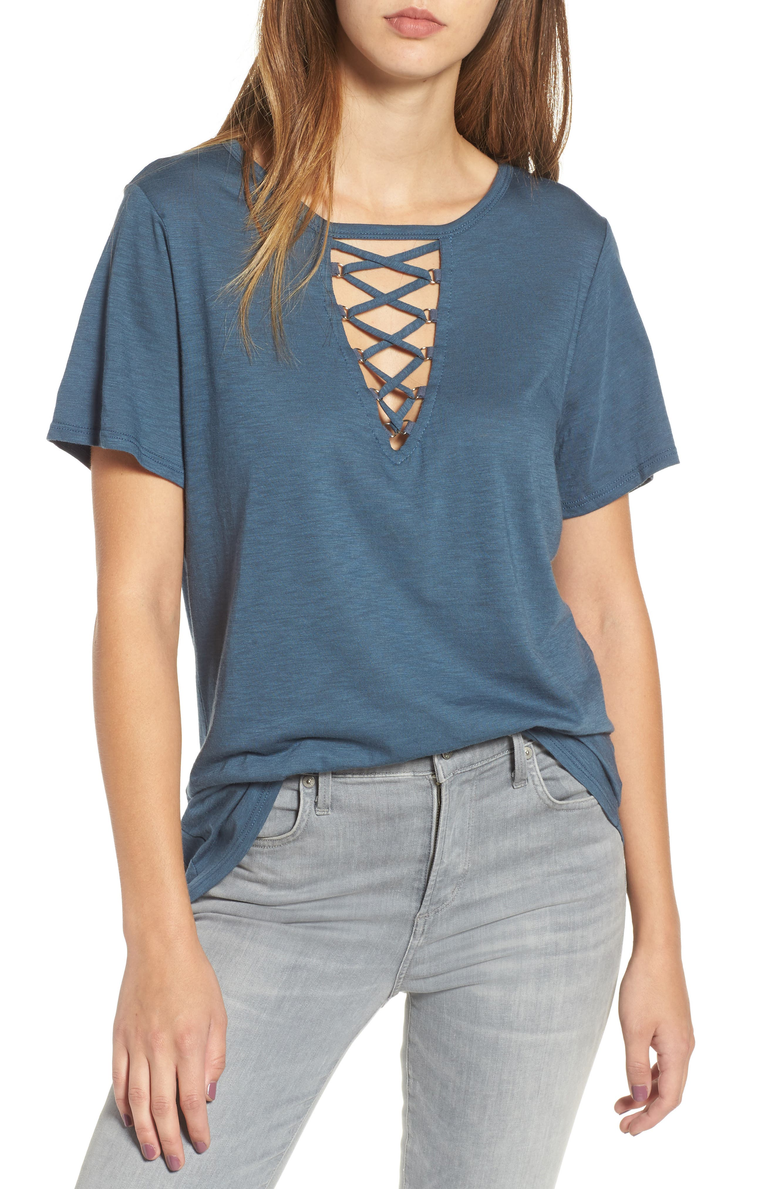 ,                             Grommet Lace-Up Tee,                             Main thumbnail 7, color,                             460