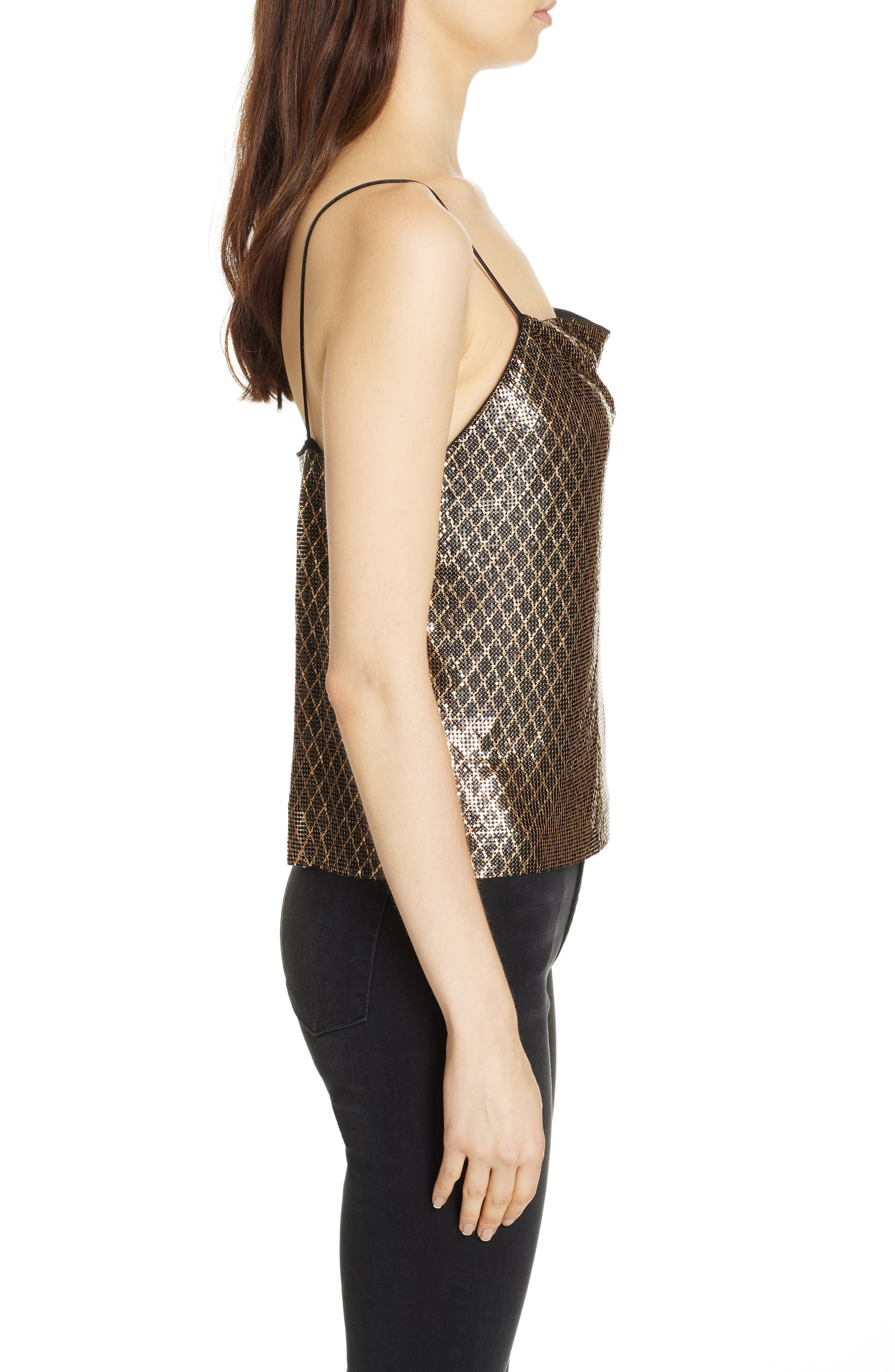 ,                             Harmon Chain Mail Drapey Camisole,                             Alternate thumbnail 3, color,                             BLACK/ GOLD