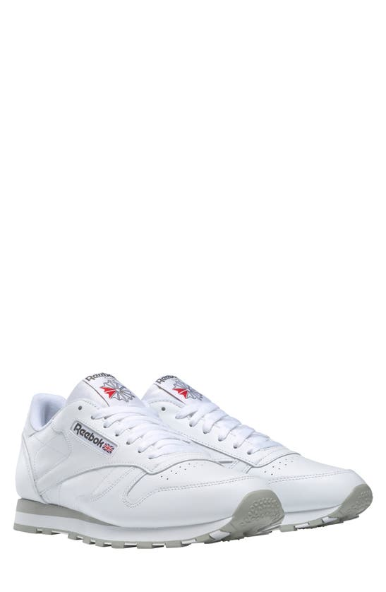 Reebok Classic Leather Sneaker In White/ Grey