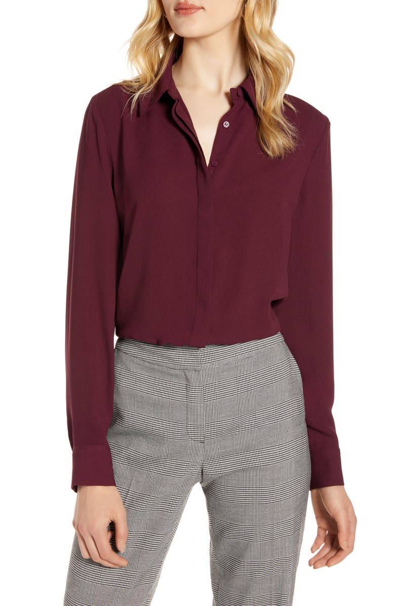HALOGEN<SUP>®</SUP> Hidden Button Long Sleeve Blouse, Main, color, BURGUNDY STEM