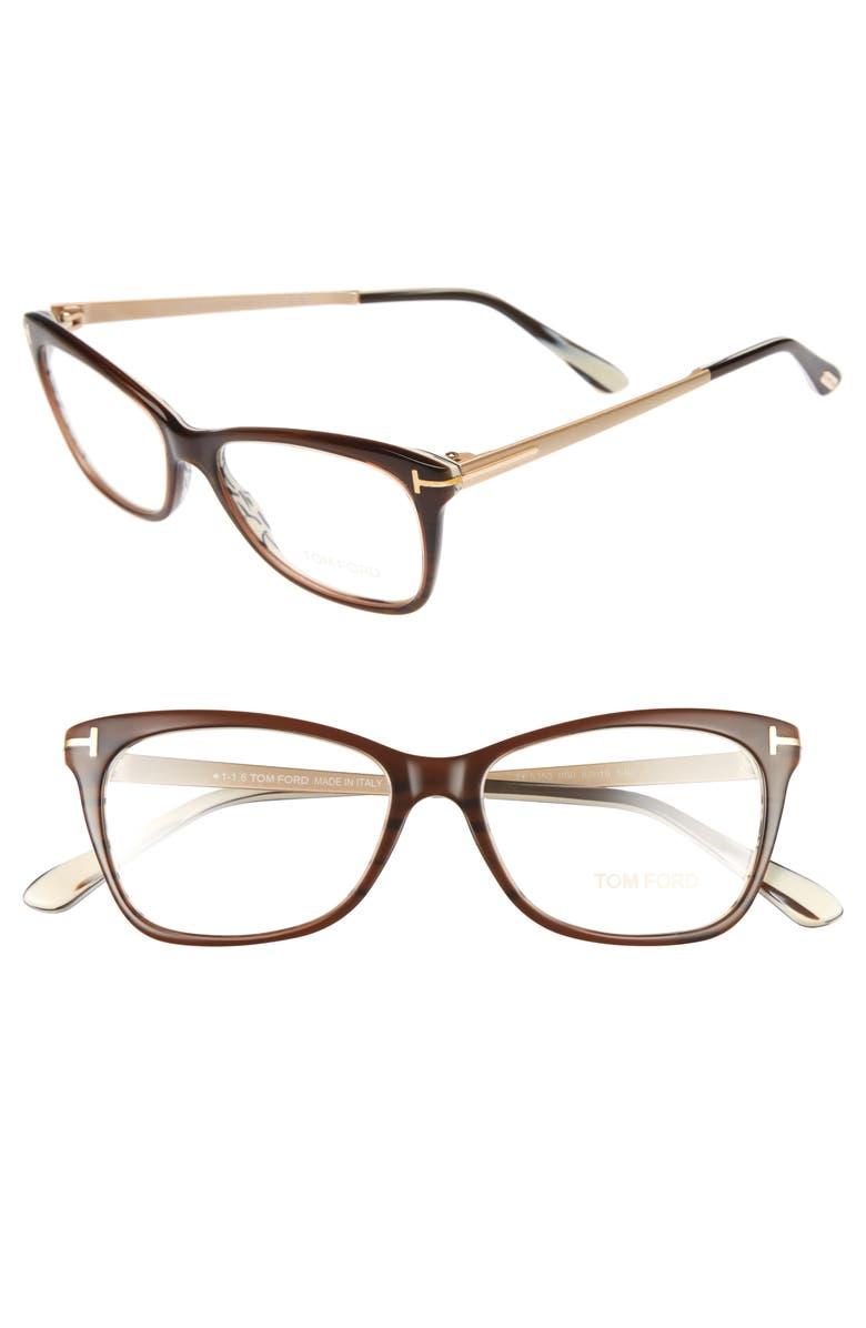 TOM FORD 52mm Cat Eye Optical Glasses, Main, color, DARK BROWN