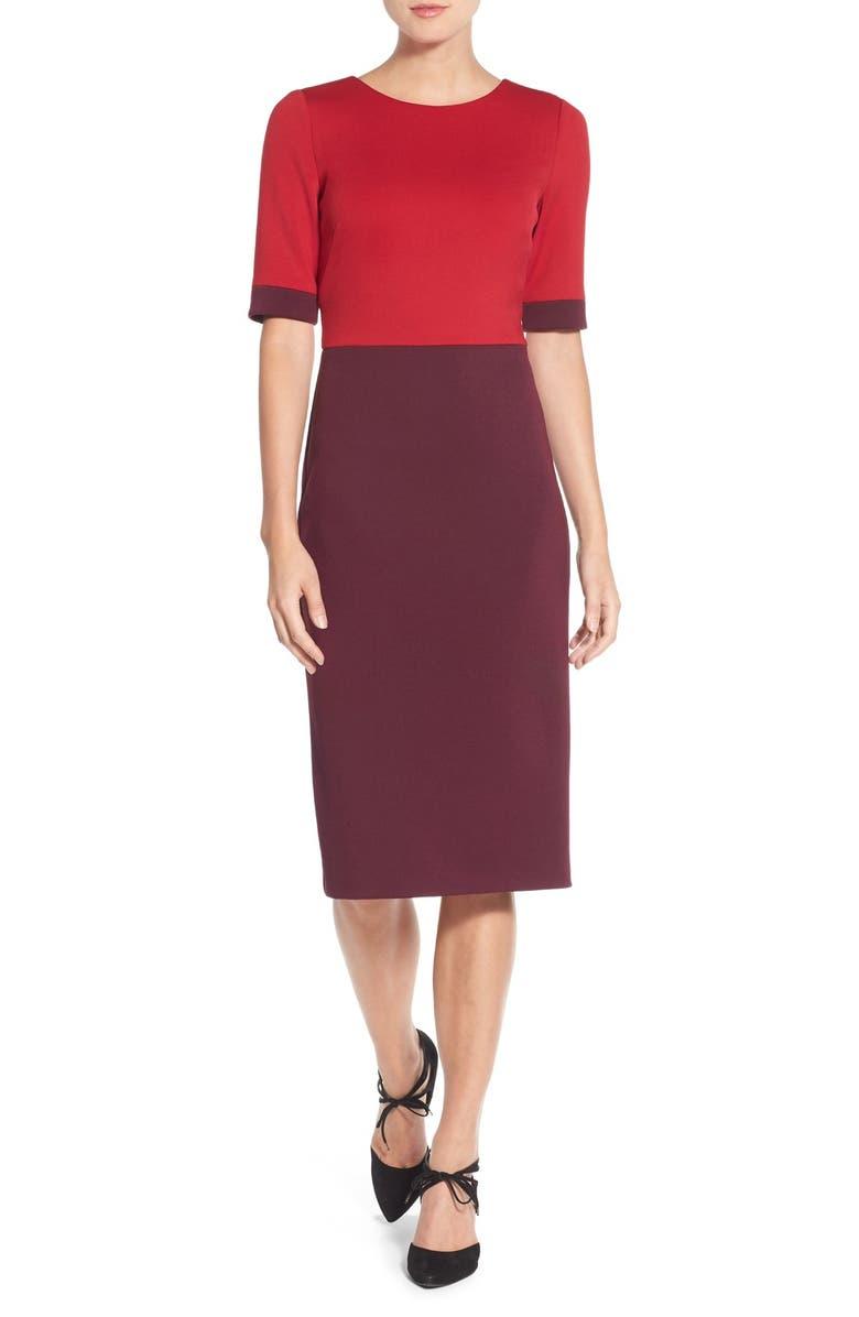 MAGGY LONDON Colorblock Scuba Midi Dress, Main, color, 610
