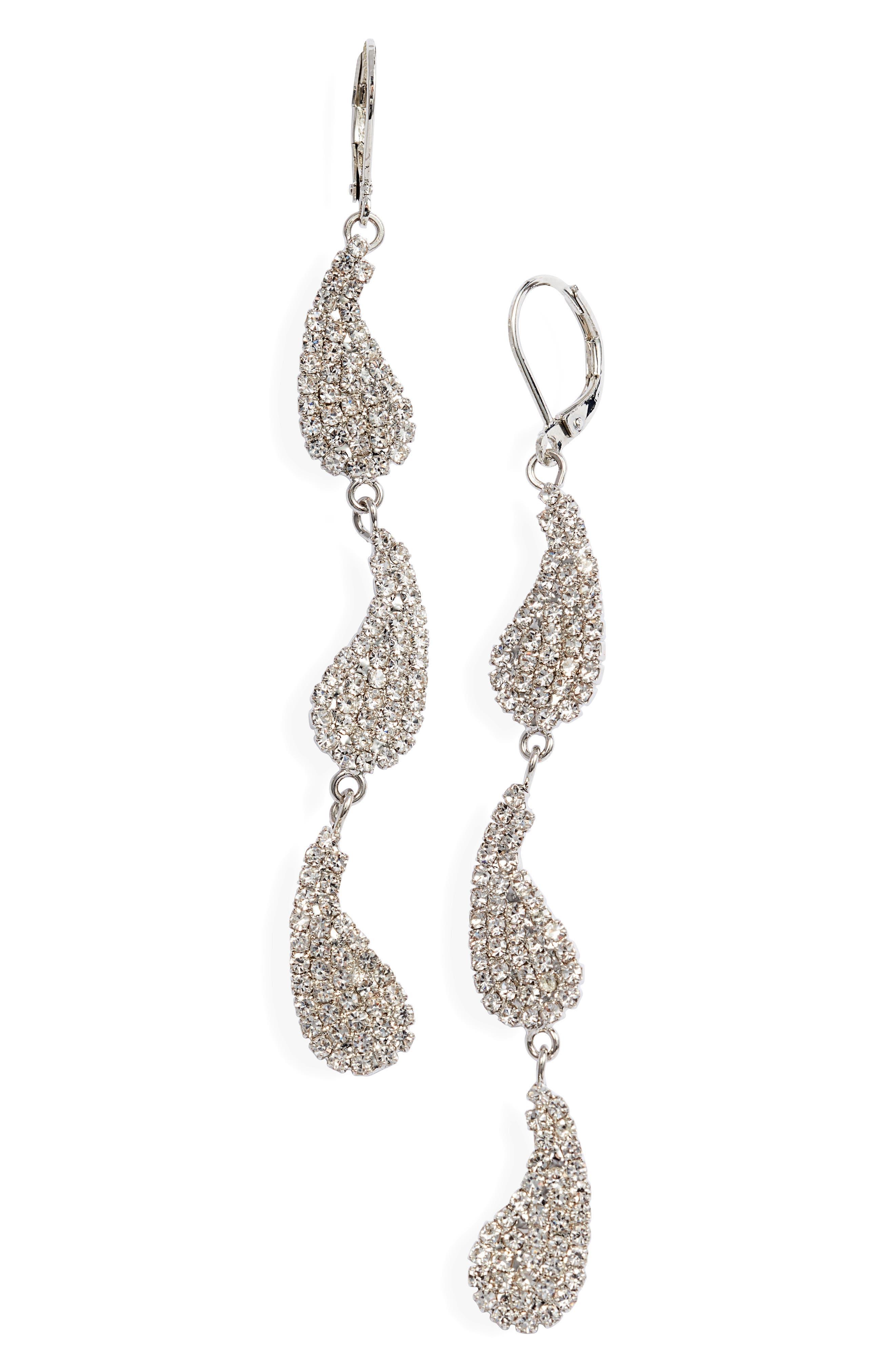 Crystal Paisley Triple Drop Earrings