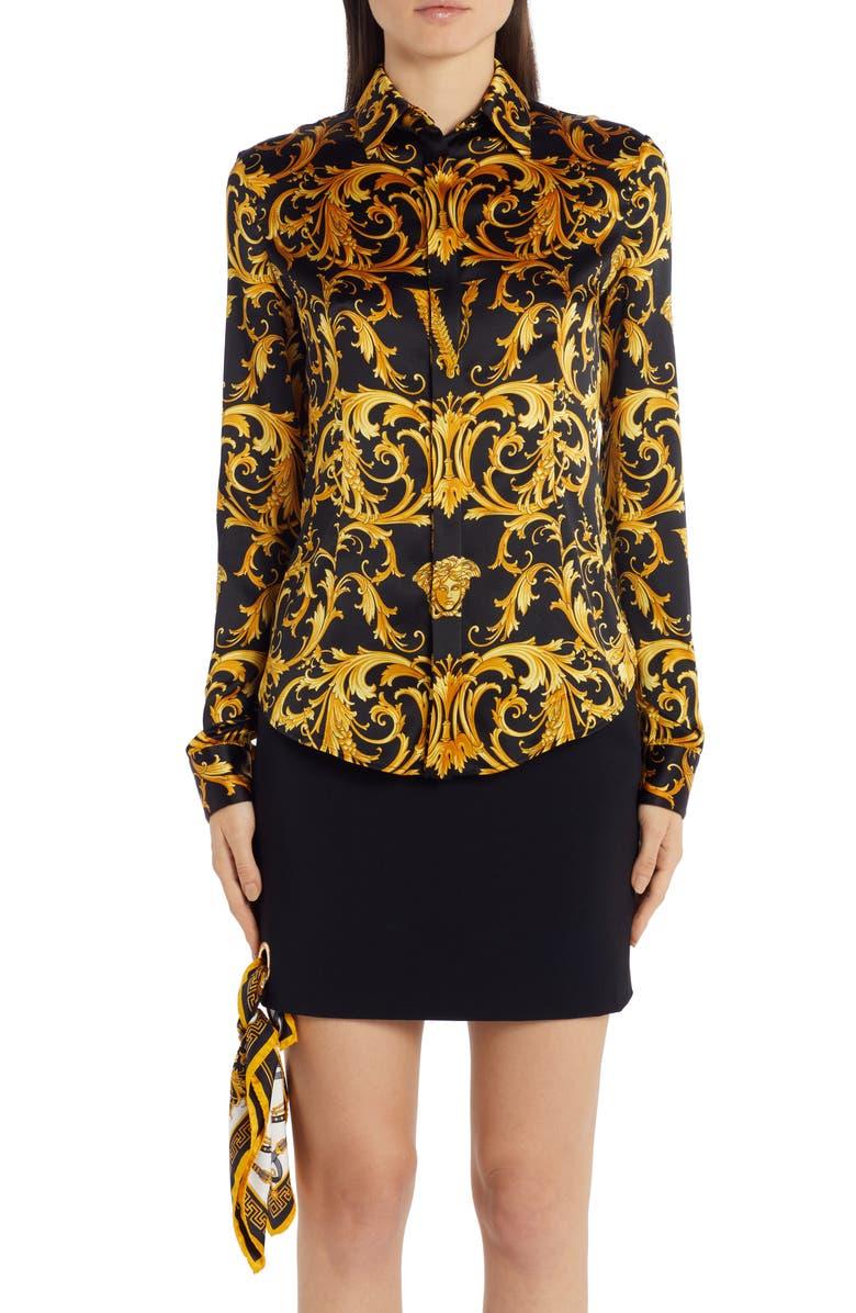 VERSACE V-Barocco Print Stretch Silk Blouse, Main, color, BLACK/GOLD