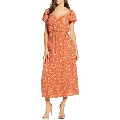 All In Favor Faux Wrap Floral Tea Length Dress, Orange