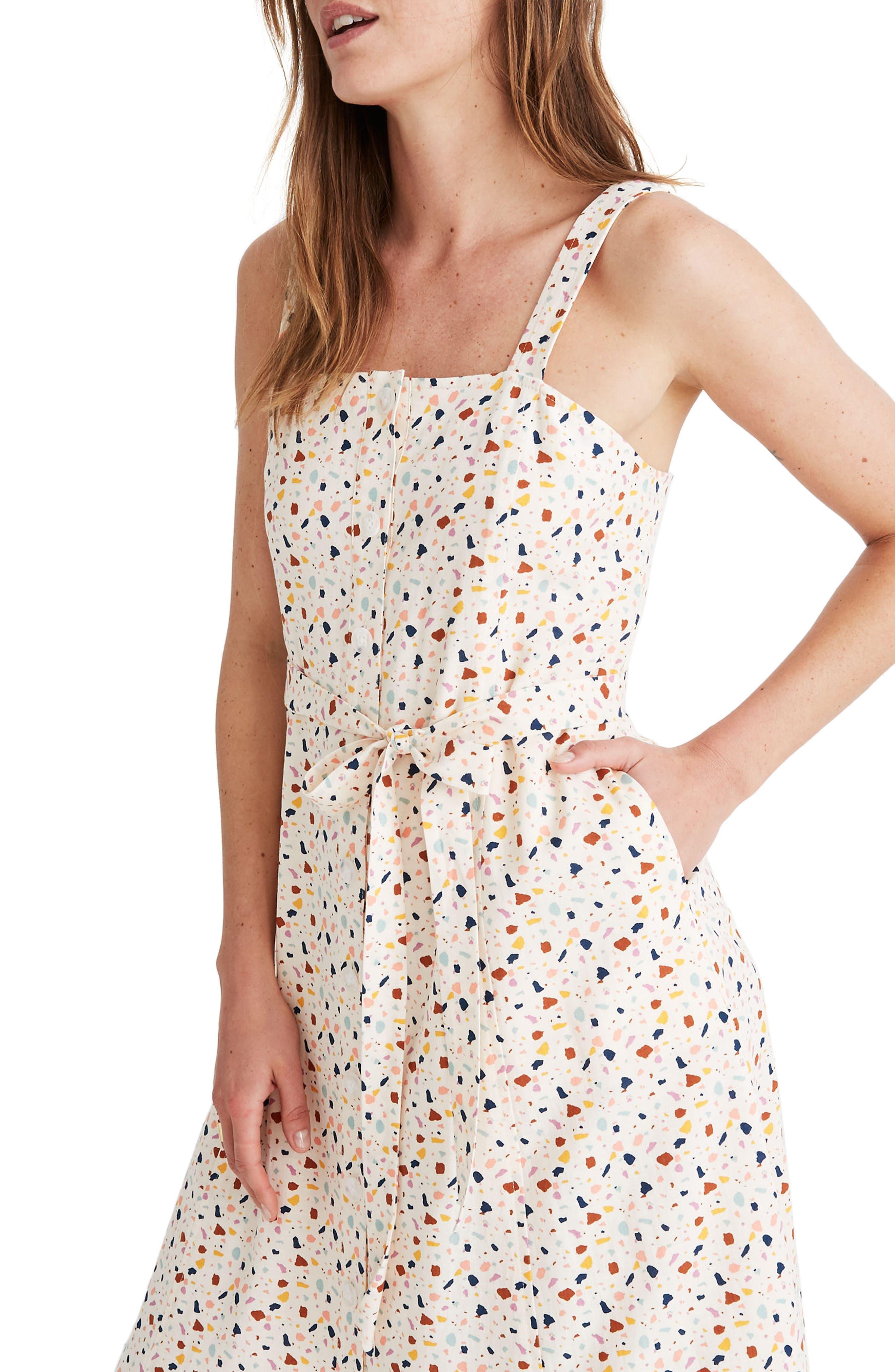 Terrazzo Square Neck Midi Dress