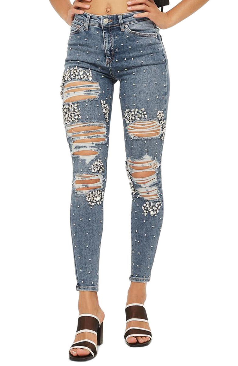 TOPSHOP Limited Edition Jamie Gem Encrusted Skinny Jeans, Main, color, 400
