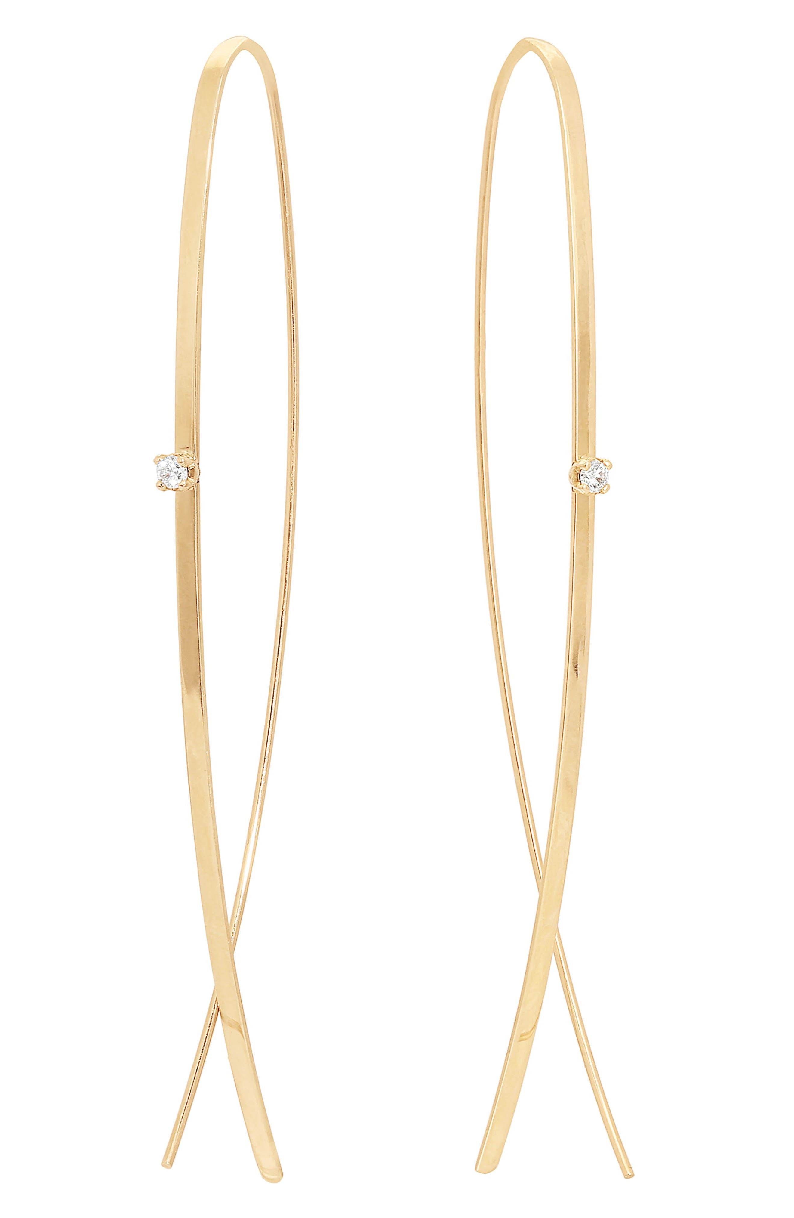 Diamond Threader Hoop Earrings