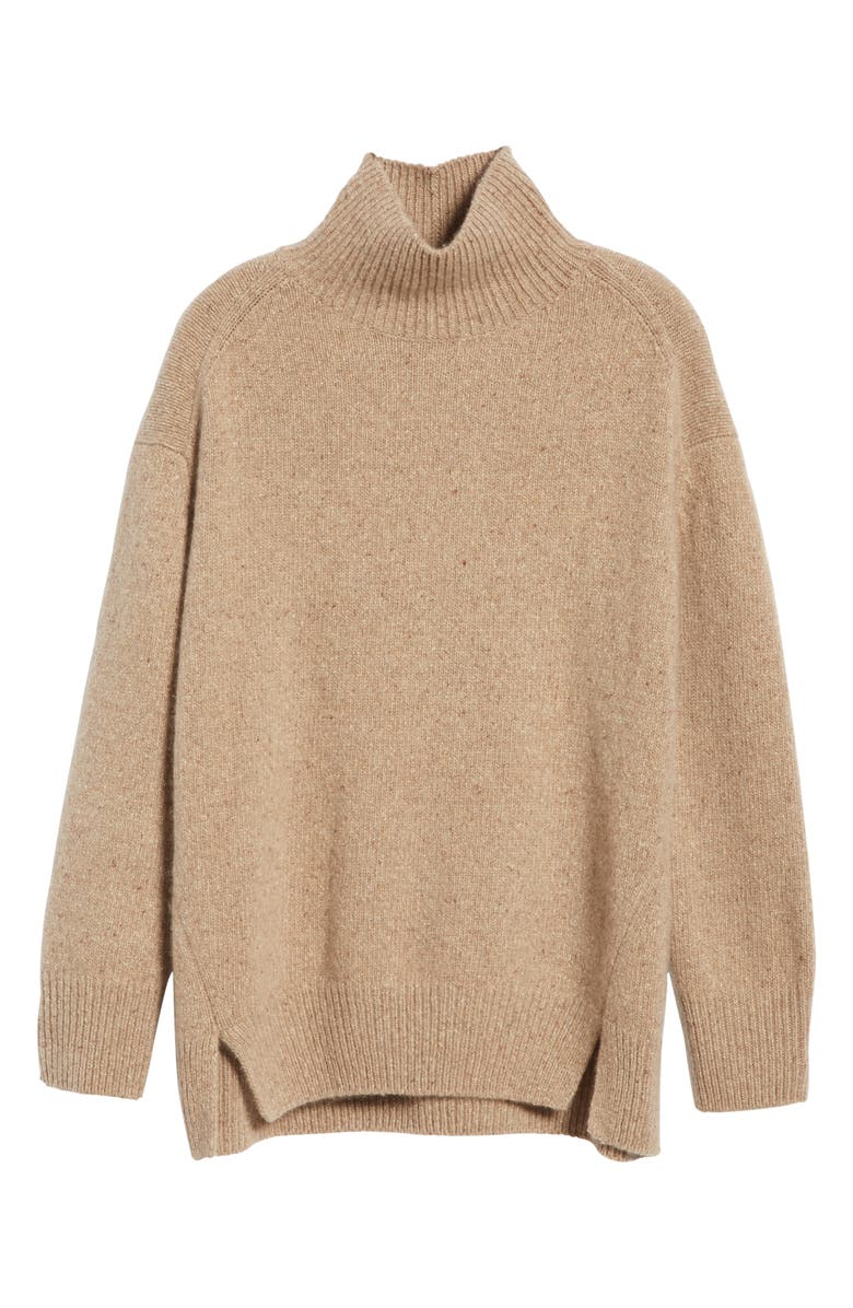 VINCE Double Slit Cashmere Turtleneck Sweater, Alternate, color, CAMEL