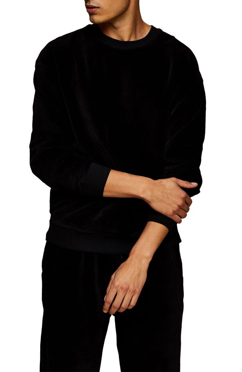 TOPMAN Corduroy Sweatshirt, Main, color, 001