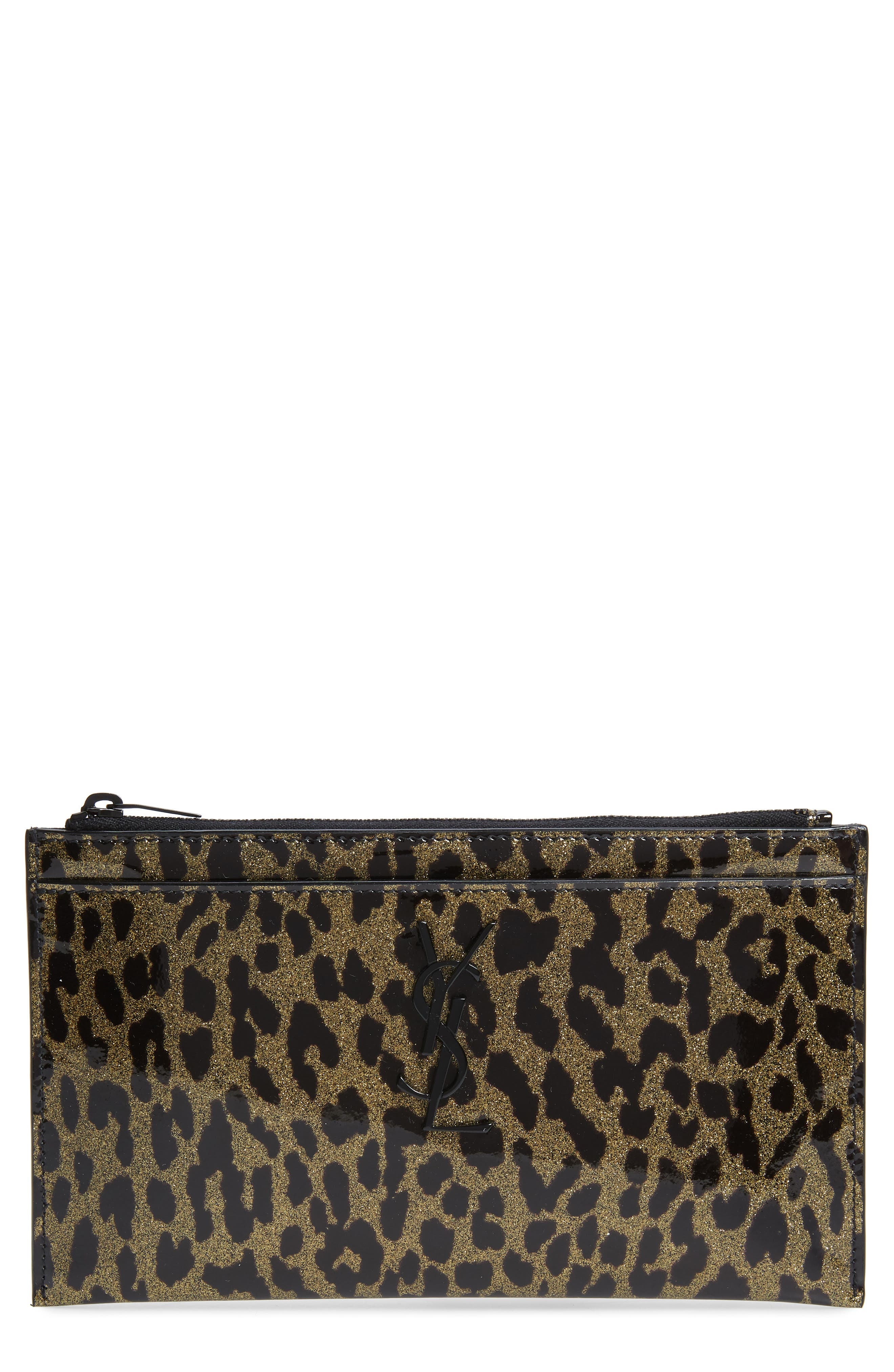 Saint Laurent Clutch Metallic Leopard Print Leather Pouch