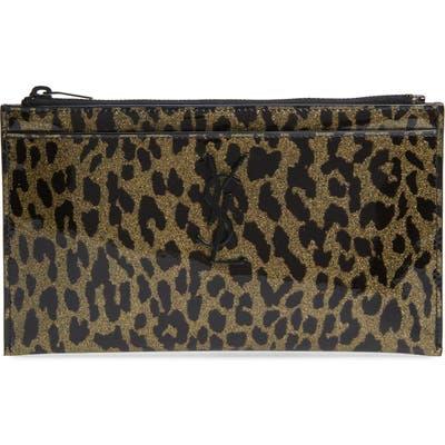 Saint Laurent Metallic Leopard Print Leather Pouch - Metallic
