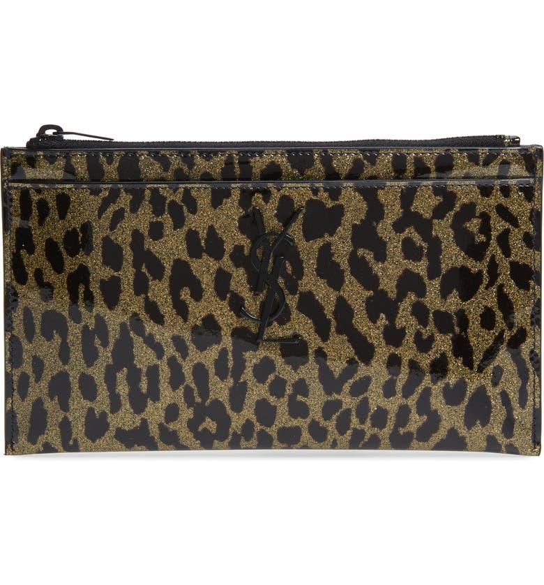 SAINT LAURENT Metallic Leopard Print Leather Pouch, Main, color, OR CLAR/ NOIR