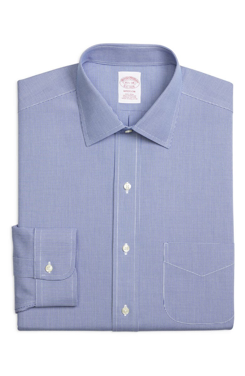BROOKS BROTHERS Madison Classic Fit Houndstooth Dress Shirt, Main, color, BLUE