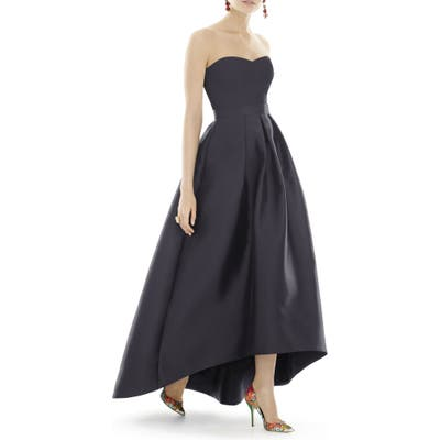 Alfred Sung Strapless High/low Satin Twill Ballgown, Black