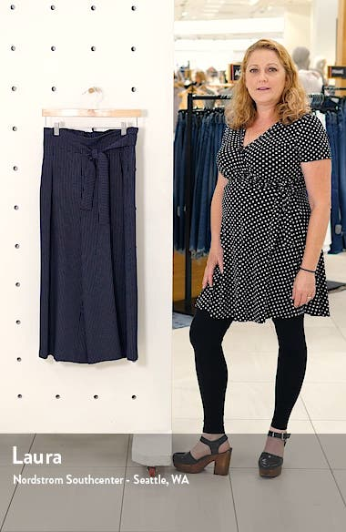 Dot Pattern Tie Waist Wide Leg Crop Cotton Blend Trousers, sales video thumbnail