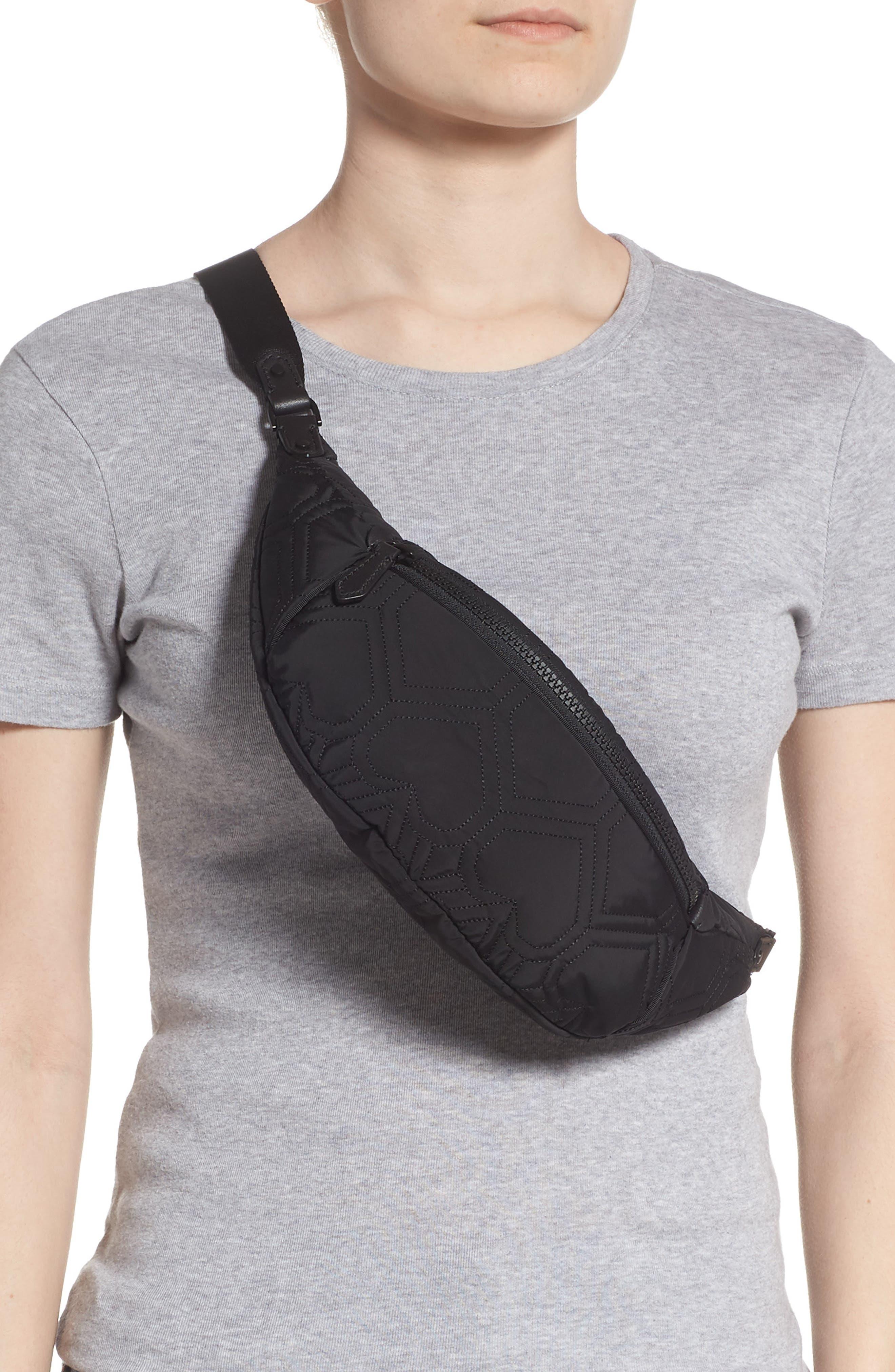 ,                             jayne heart quilted belt bag,                             Alternate thumbnail 3, color,                             BLACK