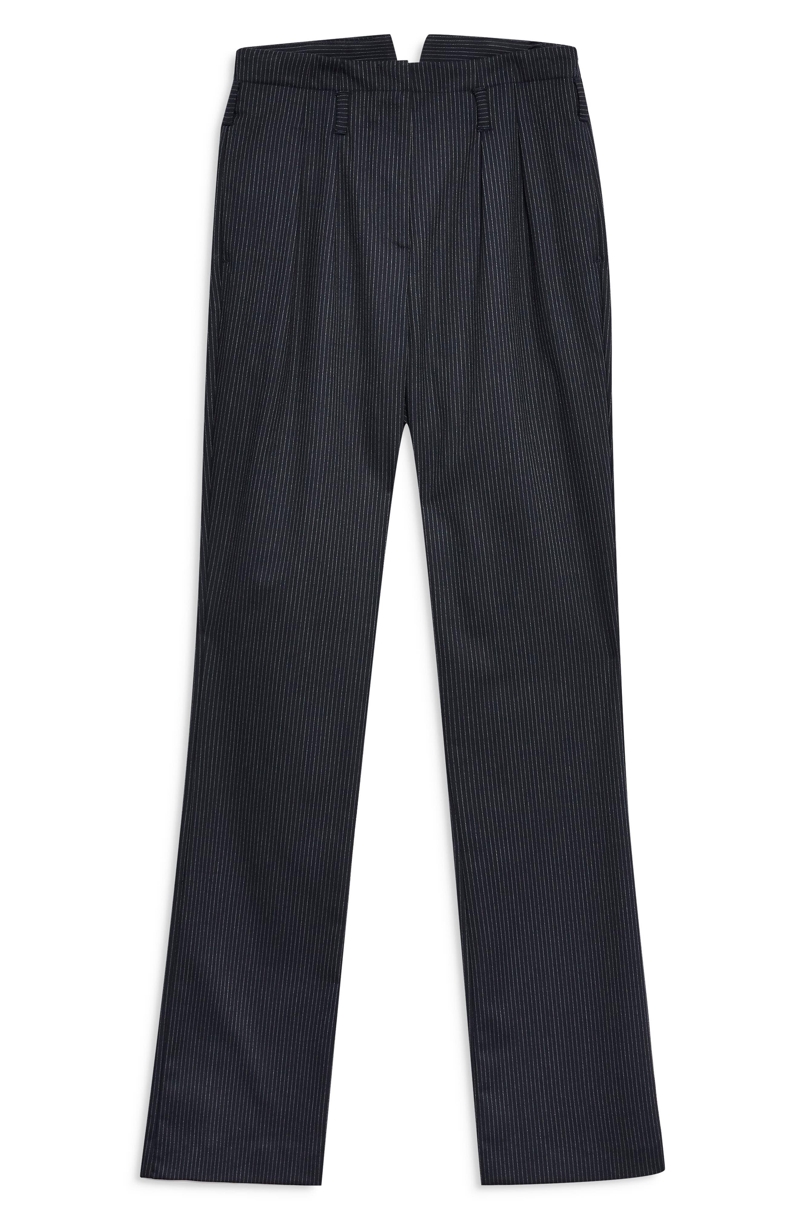 ,                             Pinstripe Trousers,                             Alternate thumbnail 5, color,                             NAVY BLUE