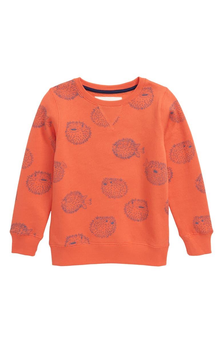 MINI BODEN Under the Sea Puffer Fish Sweatshirt, Main, color, 814