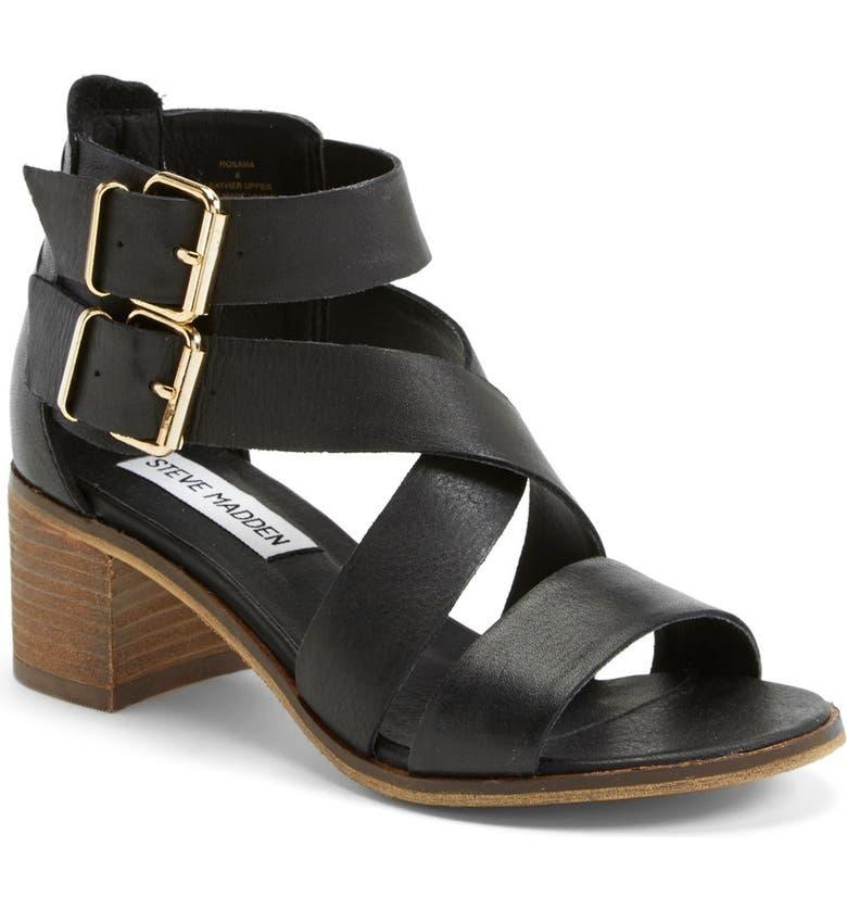 STEVE MADDEN 'Rosana' Double Ankle Strap Leather Sandal, Main, color, 001