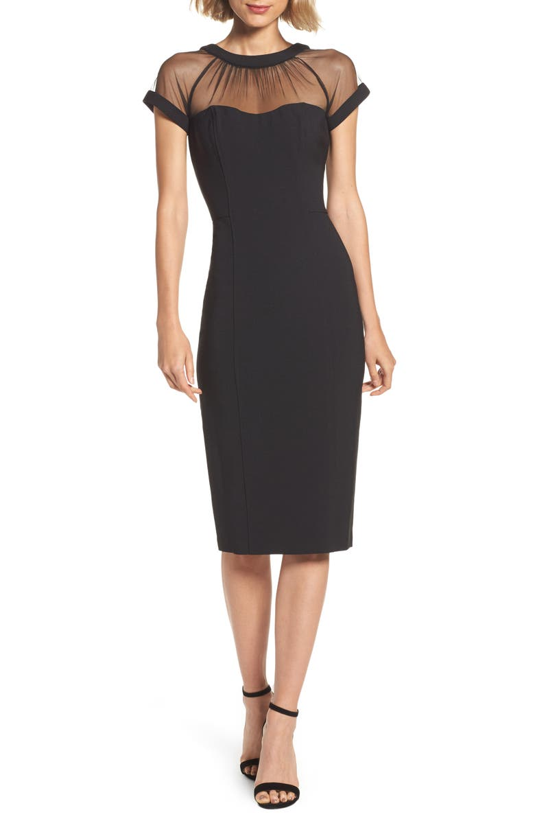 MAGGY LONDON Illusion Yoke Crepe Sheath Dress, Main, color, BLACK