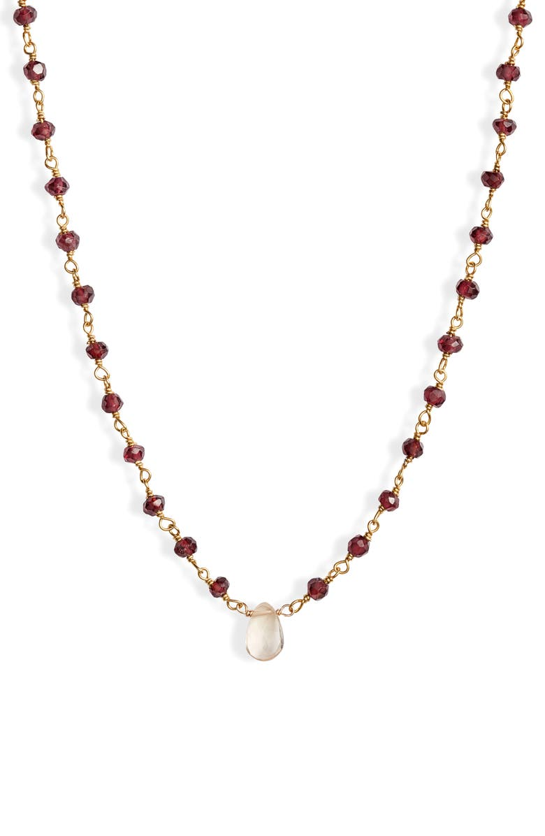 ELA RAE era rae Semiprecious Stone Collar Necklace, Main, color, GARNET