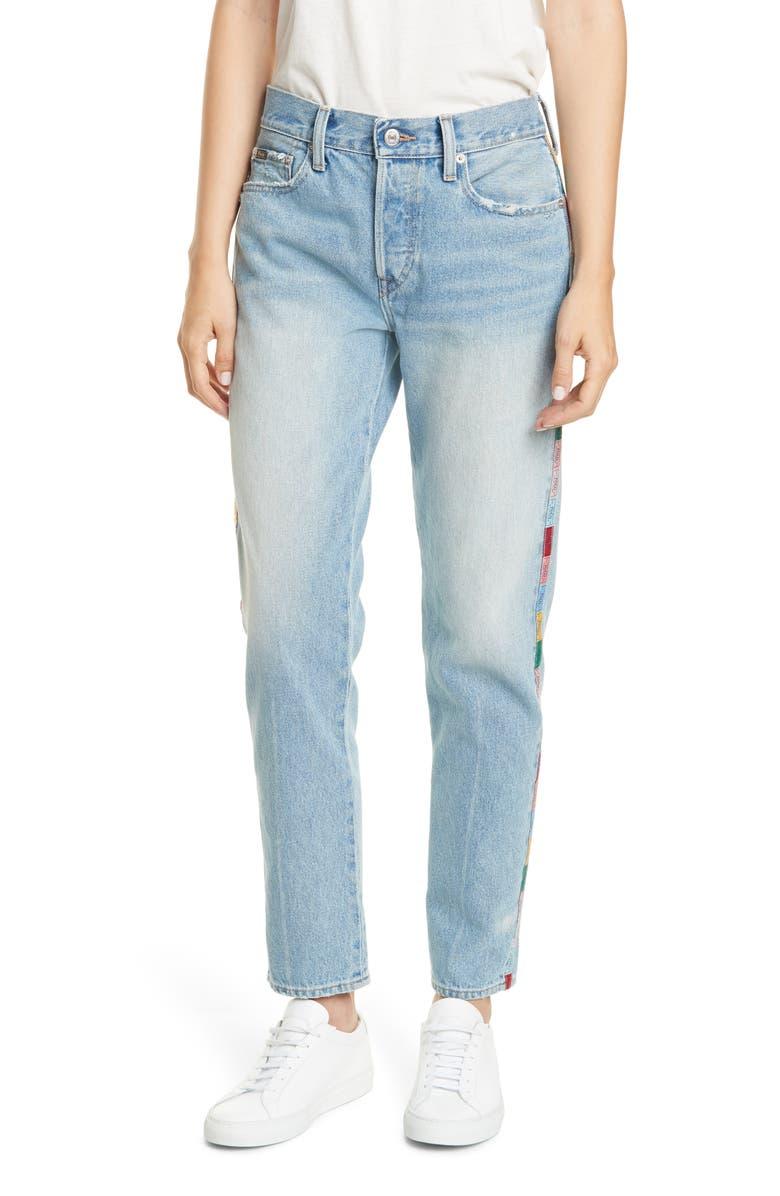 POLO RALPH LAUREN Avery Logo Side Stripe Nonstretch Slim Boyfriend Jeans, Main, color, LIGHT INDIGO
