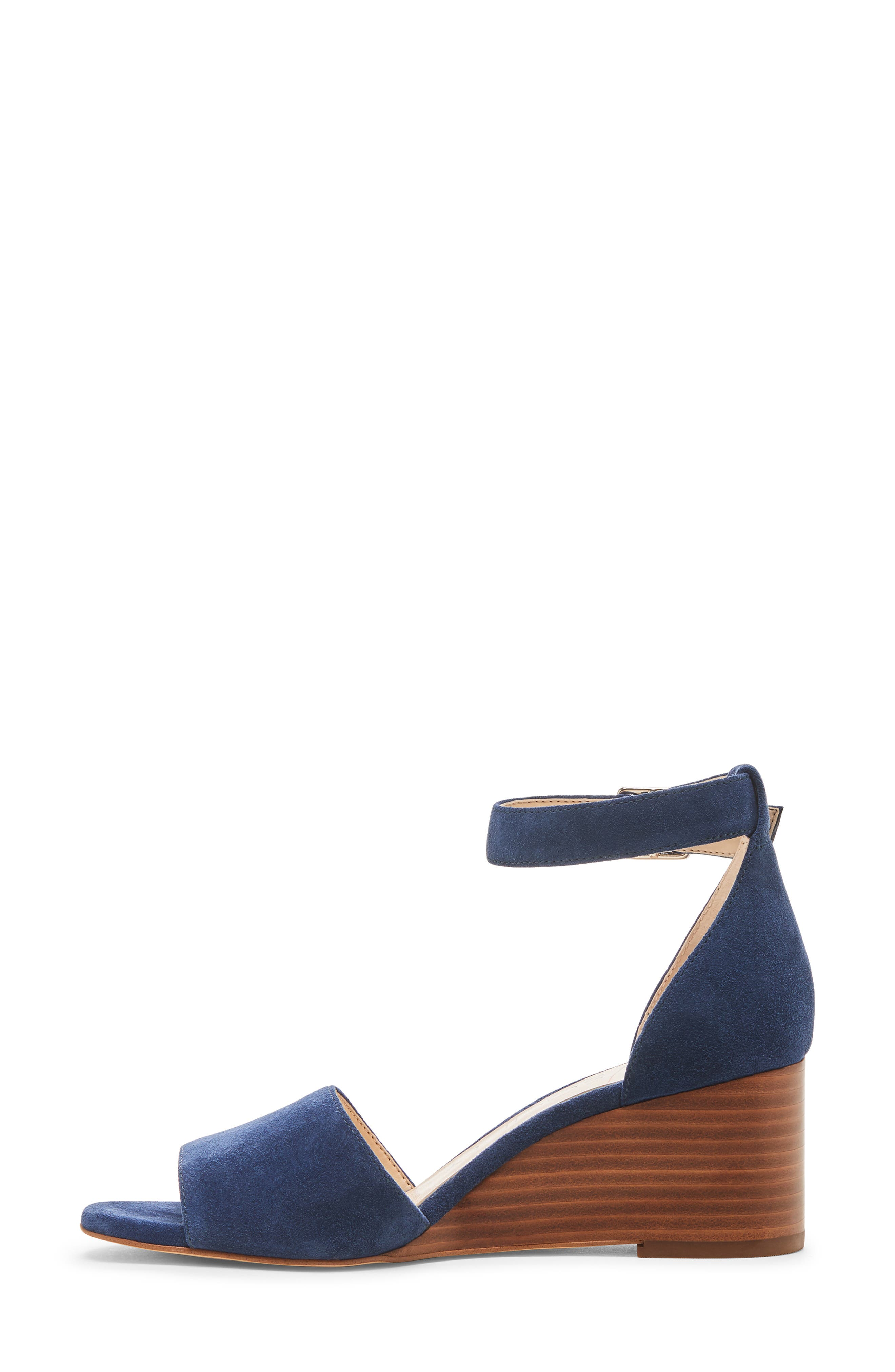 ,                             Kenia Wedge Sandal,                             Alternate thumbnail 9, color,                             BLUE JEAN SUEDE