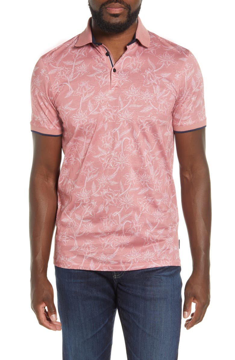 TED BAKER LONDON Slim Fit Linear Floral Print Polo, Main, color, PINK