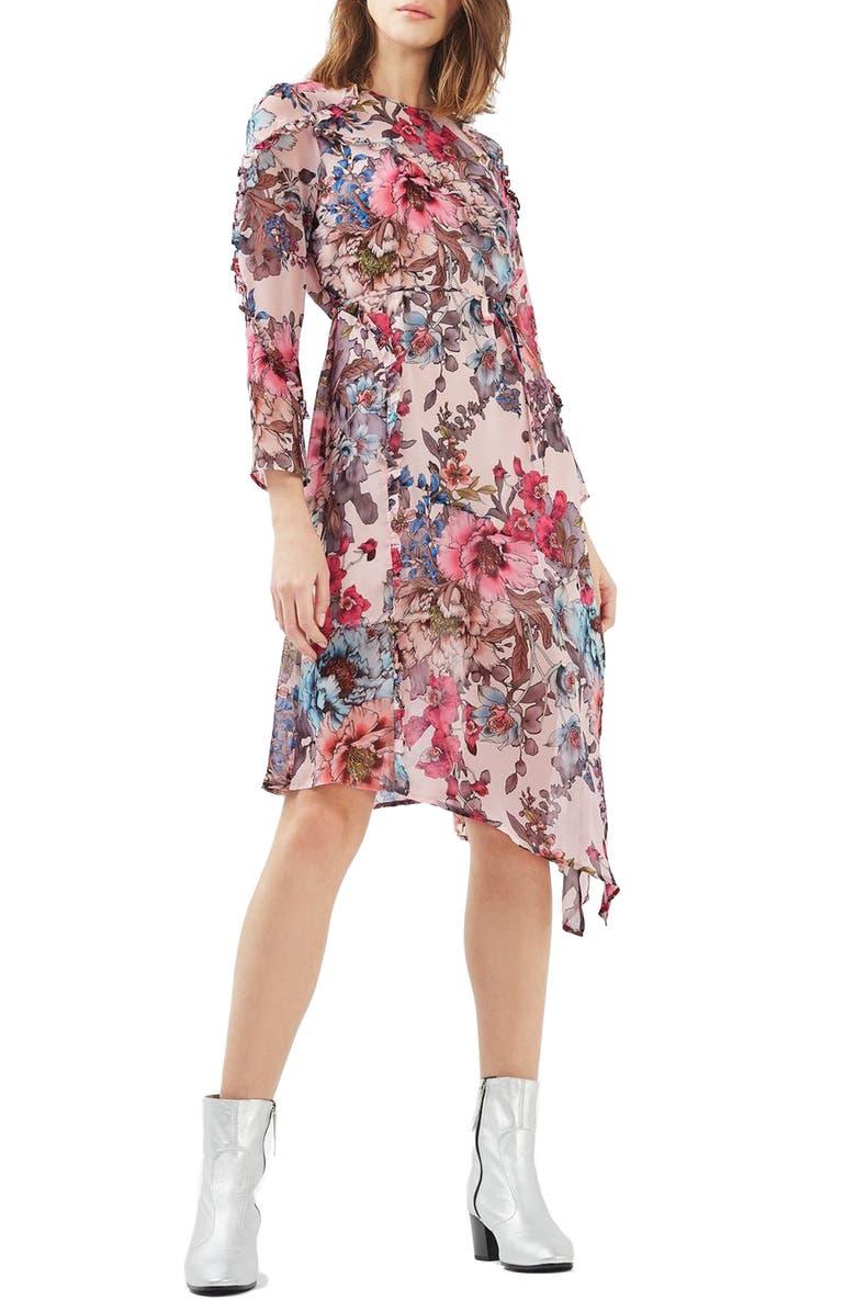 TOPSHOP Pop Floral Ruffle Midi Dress, Main, color, 650