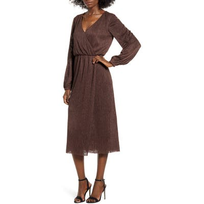 All In Favor Long Sleeve Midi Dress, Brown