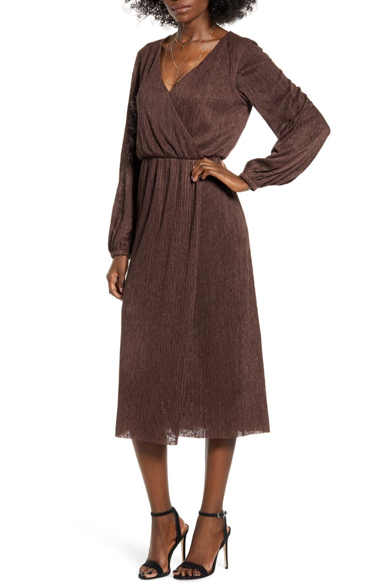 ALL IN FAVOR Long Sleeve Midi Dress, Main, color, COFFEE BEAN