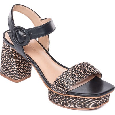 Bernardo Regan Raffia Platform Sandal- Black