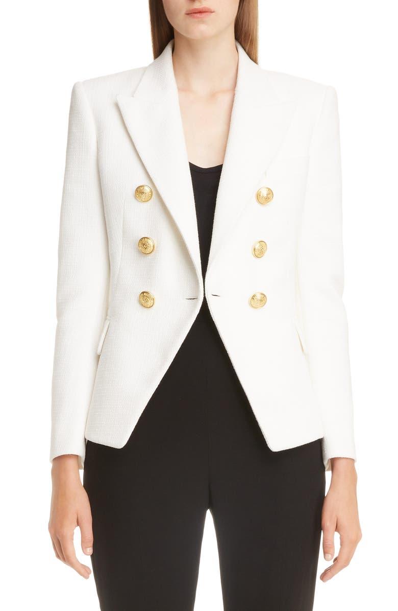 BALMAIN Double Breasted Wool Blazer, Main, color, BLANC