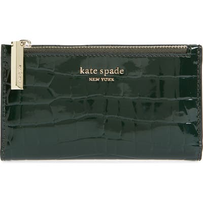 Kate Spade New York Sylvia Croc Embossed Leather Slim Bifold Wallet - Green