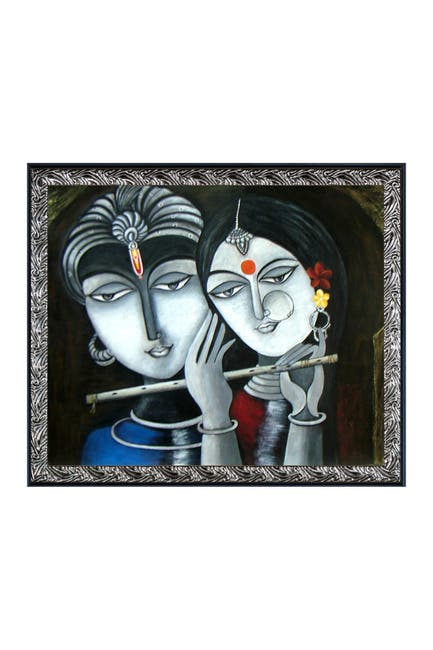 """Image of Overstock Art Divine Soul Mates with Ornate Silver and Black Custom Stacked Frame - 23.5"""" x 27.5"""""""