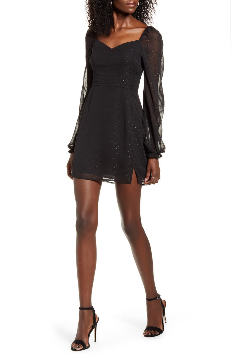 LEITH Sweetheart Long Sleeve Minidress, Main, color, BLACK