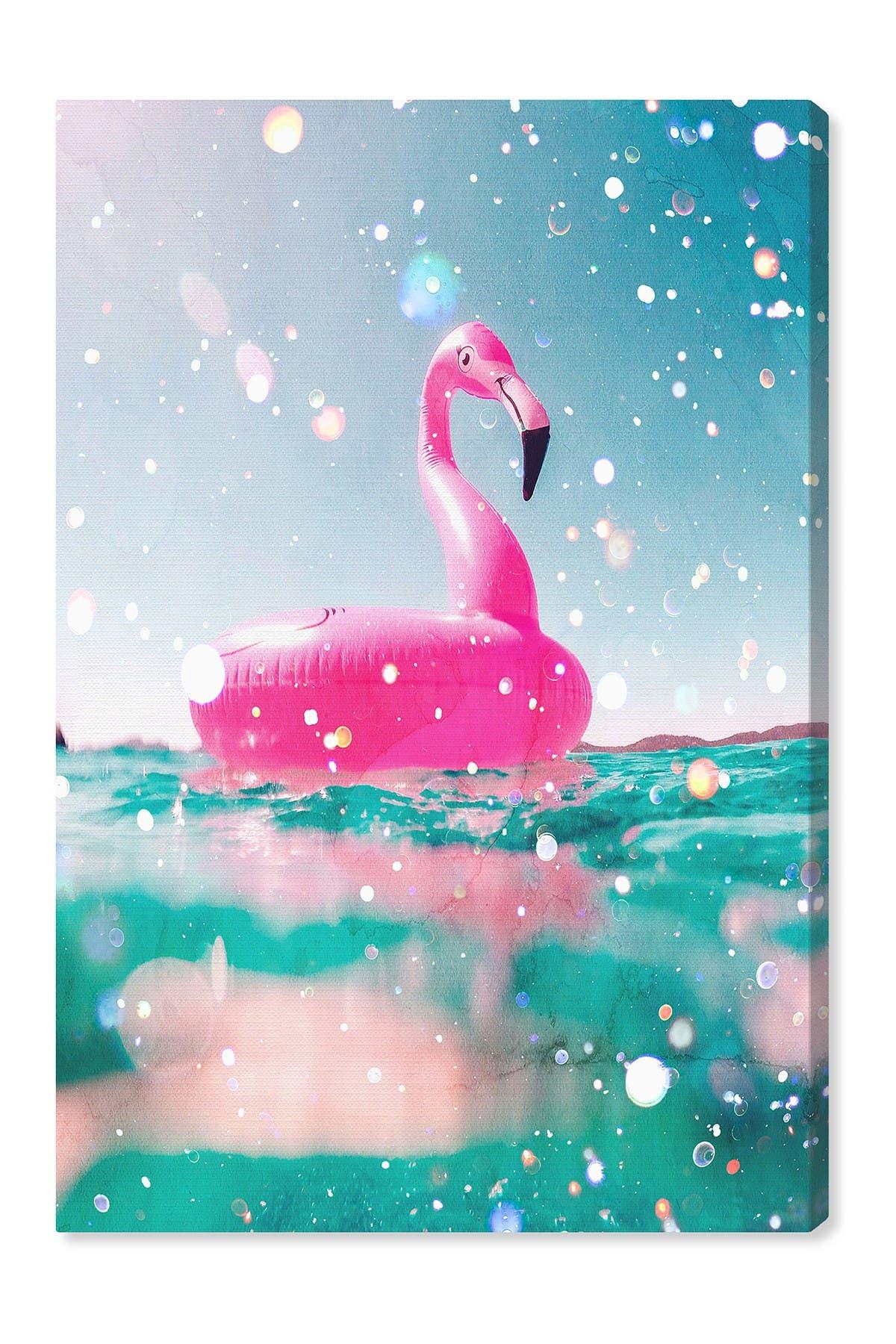 Image of Wynwood Studio Pink Flamingo Fun Blue Wall Art