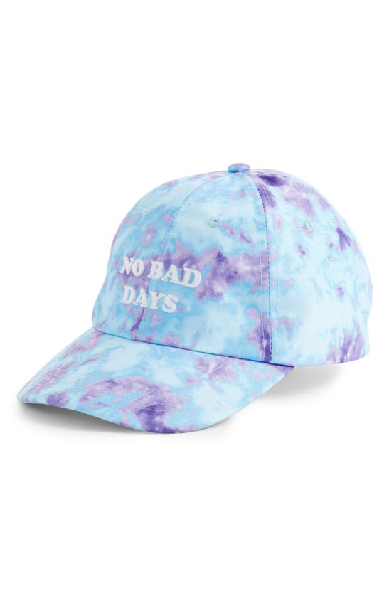 Bp. No Bad Days Embroidered Tie Dye Ball Cap In Light Blue