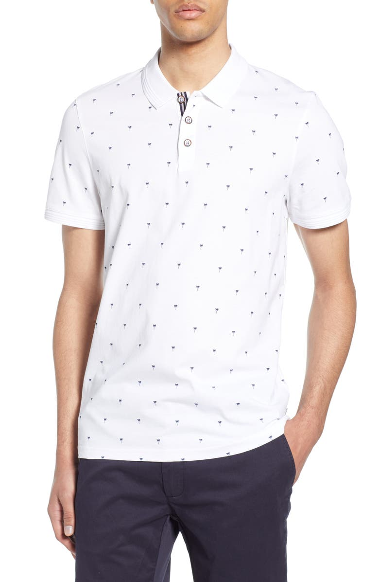 TED BAKER LONDON Tukatt Slim Fit Print Polo, Main, color, WHITE