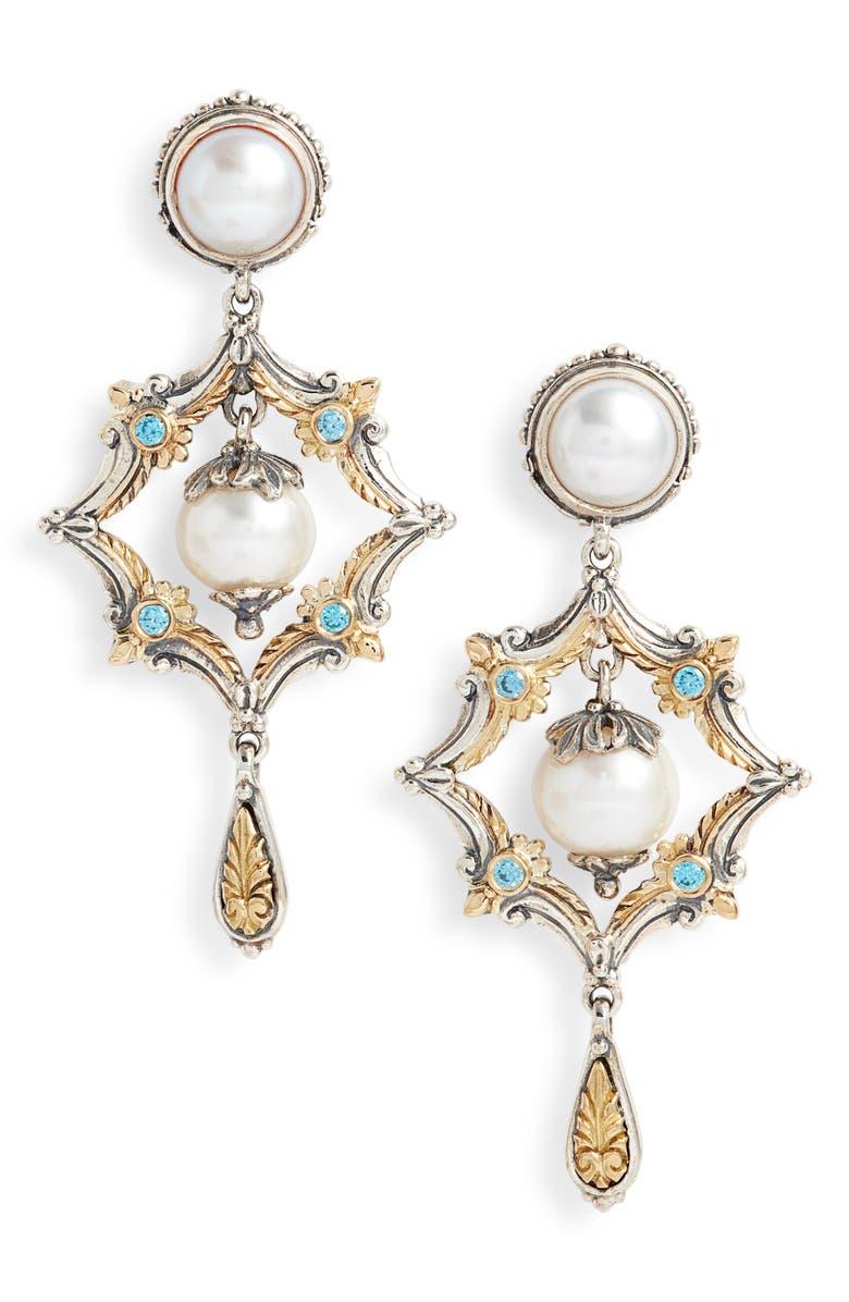 KONSTANTINO Thalia Pearl Drop Earrings, Main, color, SILVER/ PEARL