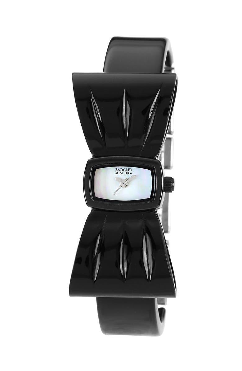 BADGLEY MISCHKA COLLECTION Badgley Mischka Bow Bangle Watch, Main, color, 040