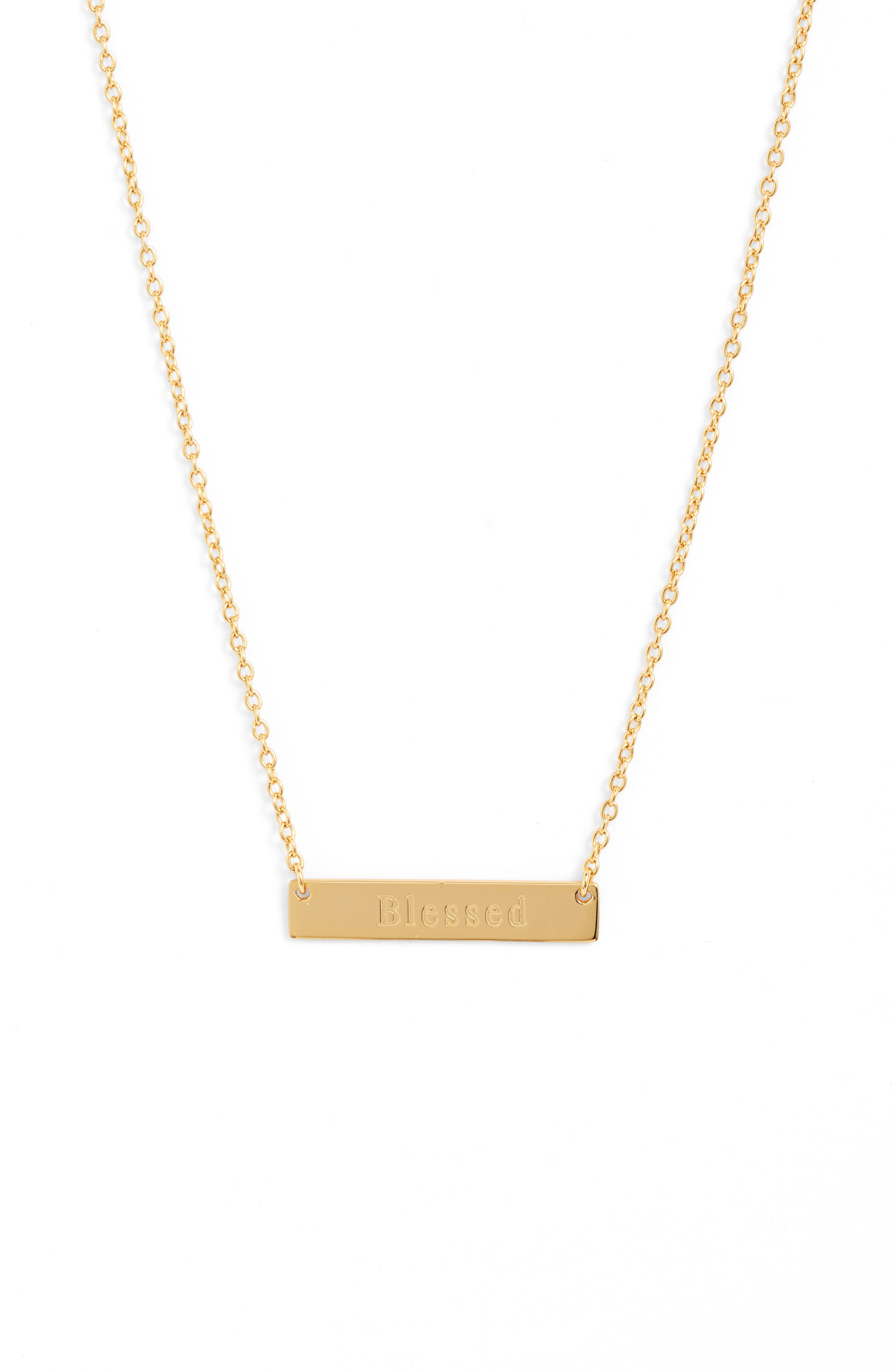 A simple design featuring a gleaming bar pendant embossed with an inspiring message defines this understated necklace. Style Name: Sterling Forever Blessed Bar Pendant Necklace. Style Number: 5904772. Available in stores.