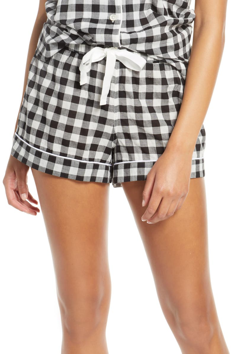 J.CREW Gingham Sleep Shorts, Main, color, 001
